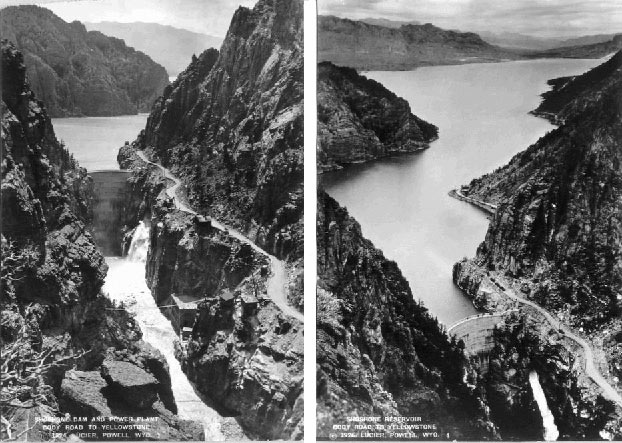Shoshone Dam and Reservoir, photos by A. G. Lucier, Left photo, 1924, Right, 1926, Cody Road to right in photos